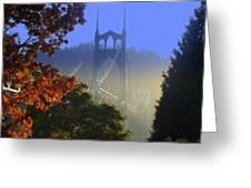 St. Johns Bridge Greeting Card by DerekTXFactor Creative