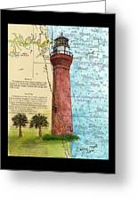 St Johns River Lighthouse Fl Nautical Chart Map Art Cathy Peek Greeting Card