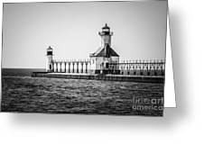 St. Joseph Lighthouses Black And White Picture  Greeting Card