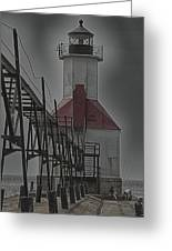 St. Joseph North Pier Lighthouse Lake Michigan Greeting Card