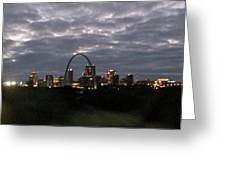 St. Louis Arch At Dusk From The Train Greeting Card