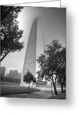 St Louis Arch In The Fog Black And White Greeting Card