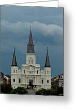 St Louis Cathedral Under Storm Clouds Greeting Card