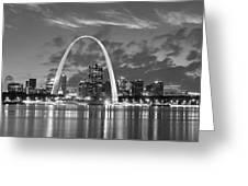 St. Louis Skyline At Dusk Gateway Arch Black And White Bw Panorama Missouri Greeting Card
