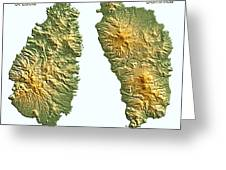 St Lucia And Dominica Map Greeting Card