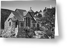 St Malo Chapel On The Rock Colorado Bw Greeting Card