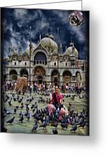 St Mark's Basilica - Feeding The Pigeons Greeting Card