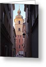 St. Martin's Church Bell Tower In Warsaw Greeting Card