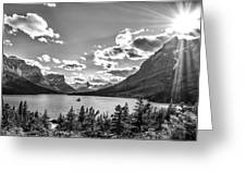 St. Mary Lake Bw Greeting Card