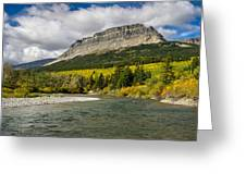 St. Mary River And East Flattop Mountain Greeting Card