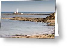 St Marys Lighthouse Across Sandy Bay Greeting Card