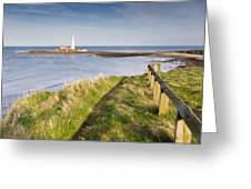 St Marys Lighthouse From Cliff Top Greeting Card