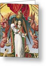 St. Michael Weighing The Souls, From The Last Judgement, C.1445-50 Oil On Panel Detail Of 170072 Greeting Card