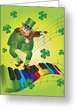 St Patricks Day Leprechaun Dancing On Piano Keyboard Greeting Card