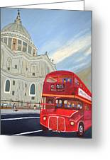 St. Paul Cathedral And London Bus Greeting Card