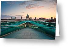 St. Paul's Cathedral And Millennium Bridge In London Greeting Card