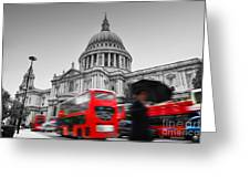 St Pauls Cathedral In London Uk Red Buses In Motion Greeting Card