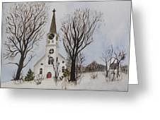 St. Pauls Church In Barton Vt In Winter Greeting Card