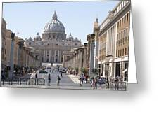 St Peter Basilica Viewed From Via Della Conciliazione. Rome Greeting Card by Bernard Jaubert