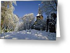 St Peter's Church In The Snow Greeting Card