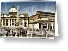 St Peters Square - Vatican Greeting Card by Jon Berghoff