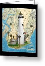 St Simons Lighthouse Ga Nautical Chart Map Art Cathy Peek Greeting Card
