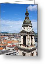 St Stephen's Basilica Bell Tower In Budapest Greeting Card