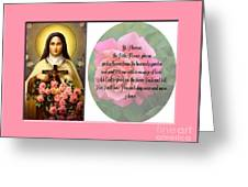 St. Theresa Prayer With Pink Border Greeting Card