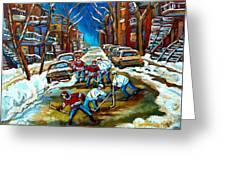 St Urbain Street Boys Playing Hockey Greeting Card by Carole Spandau