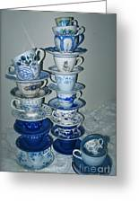 Stack Of Blue Teacups  Greeting Card