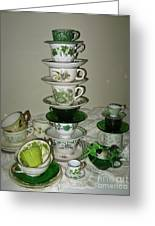 Stack Of Green Teacups  Greeting Card