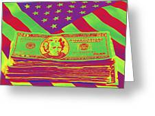 Stack Of Money On American Flag Pop Art Greeting Card
