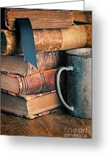 Stack Of Vintage Books Greeting Card