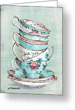 Stacked Aqua Themed Tea Cups Greeting Card