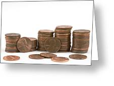 Stacks Of American Pennies White Background Greeting Card