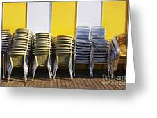 Stacks Of Chairs And Tables Greeting Card by Carlos Caetano