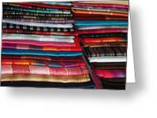 Stacks Of Colorful Shawls Greeting Card