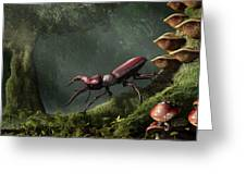 Stag Beetle Greeting Card by Daniel Eskridge