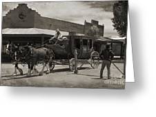 Stage Coming Through Tombstone Greeting Card