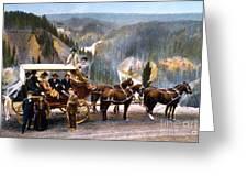 Stagecoach Near Upper Falls Greeting Card