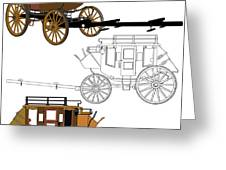 Stagecoach Without Horses - Color Sketch Drawing Greeting Card
