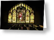 Stain Glass Behold I Stand At The Door And Knock Greeting Card