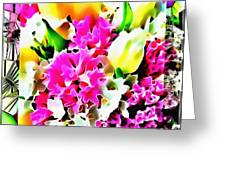 Stain Glass Framed Florals Greeting Card
