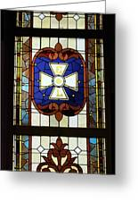 Stained Glass 3 Panel Vertical Composite 01 Greeting Card by Thomas Woolworth