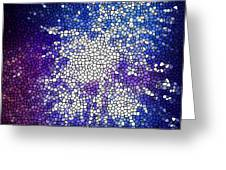 Stained Glass Beautiful Fireworks 1 Greeting Card