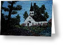 Stained Glass Church Scene Greeting Card