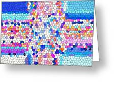 Stained Glass Colorful Cross Greeting Card