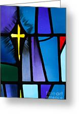 Stained Glass Cross Greeting Card by Karen Lee Ensley