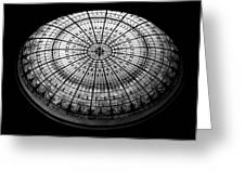 Stained Glass Dome - Bw Greeting Card