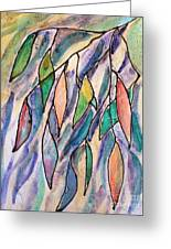 Stained Glass Leaves #2 Greeting Card